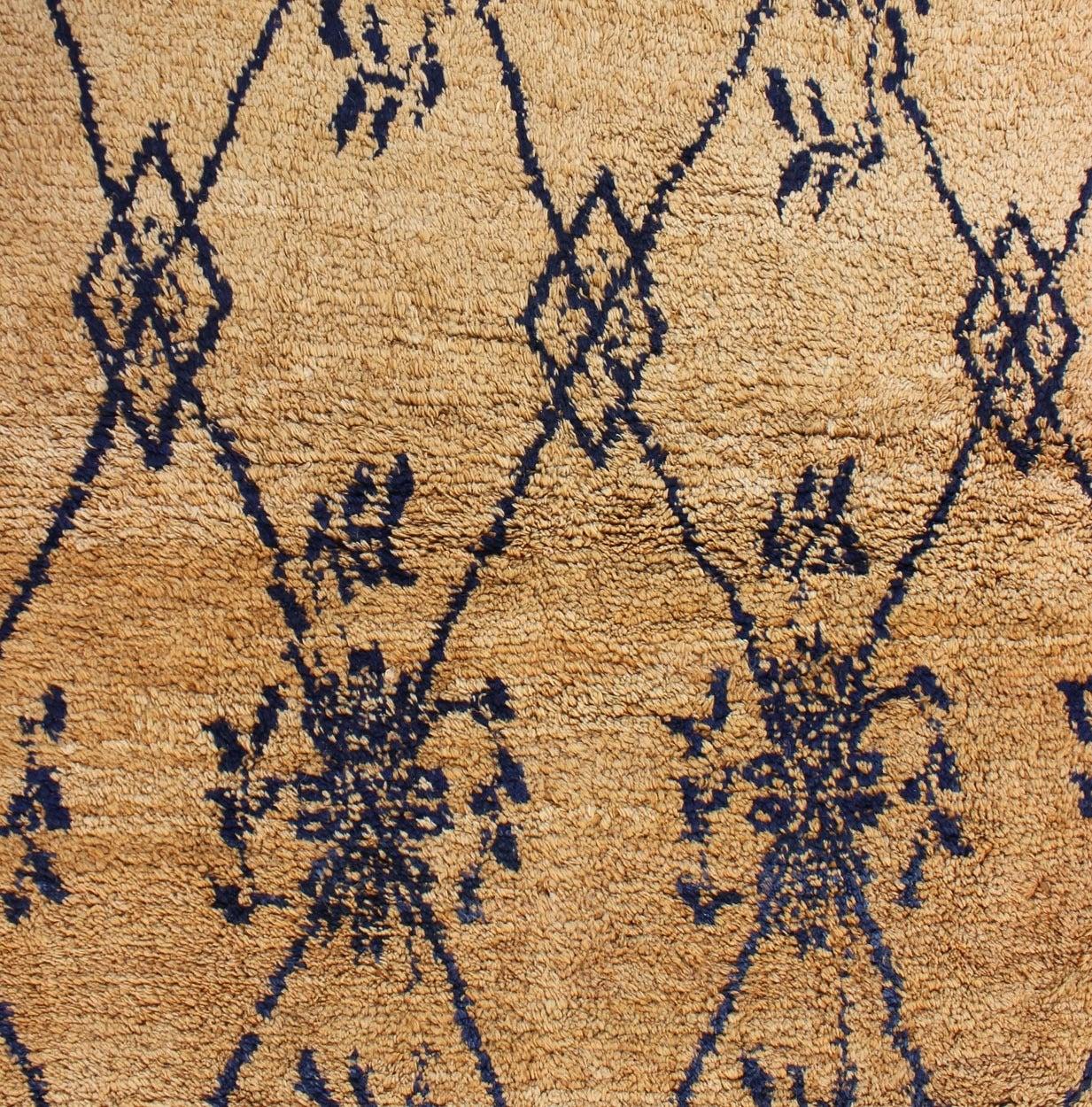 Vintage Blue Tulu Rug For Sale 1