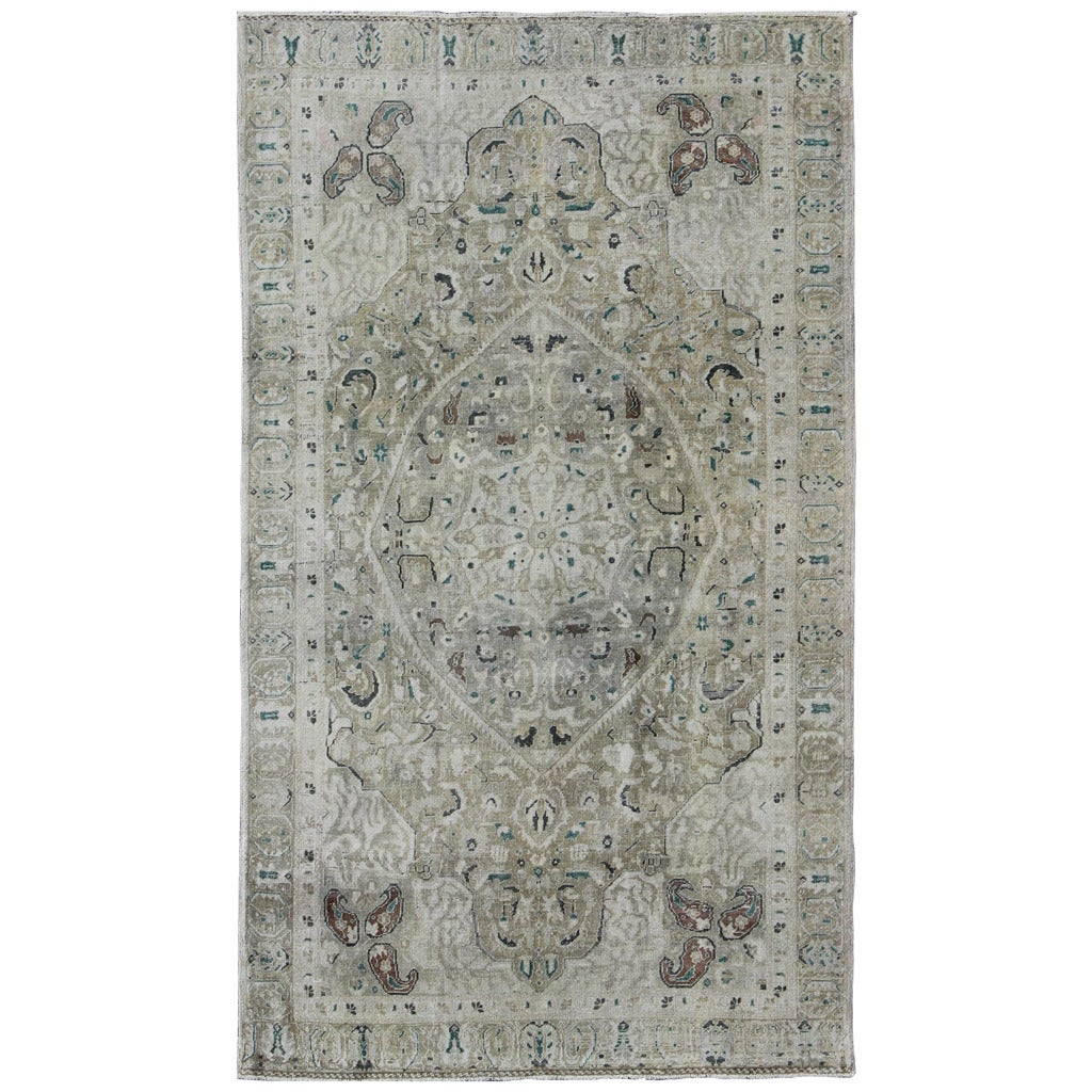 Classic Turkish Sivas Rug With Neutrals And Green For Sale At 1stdibs