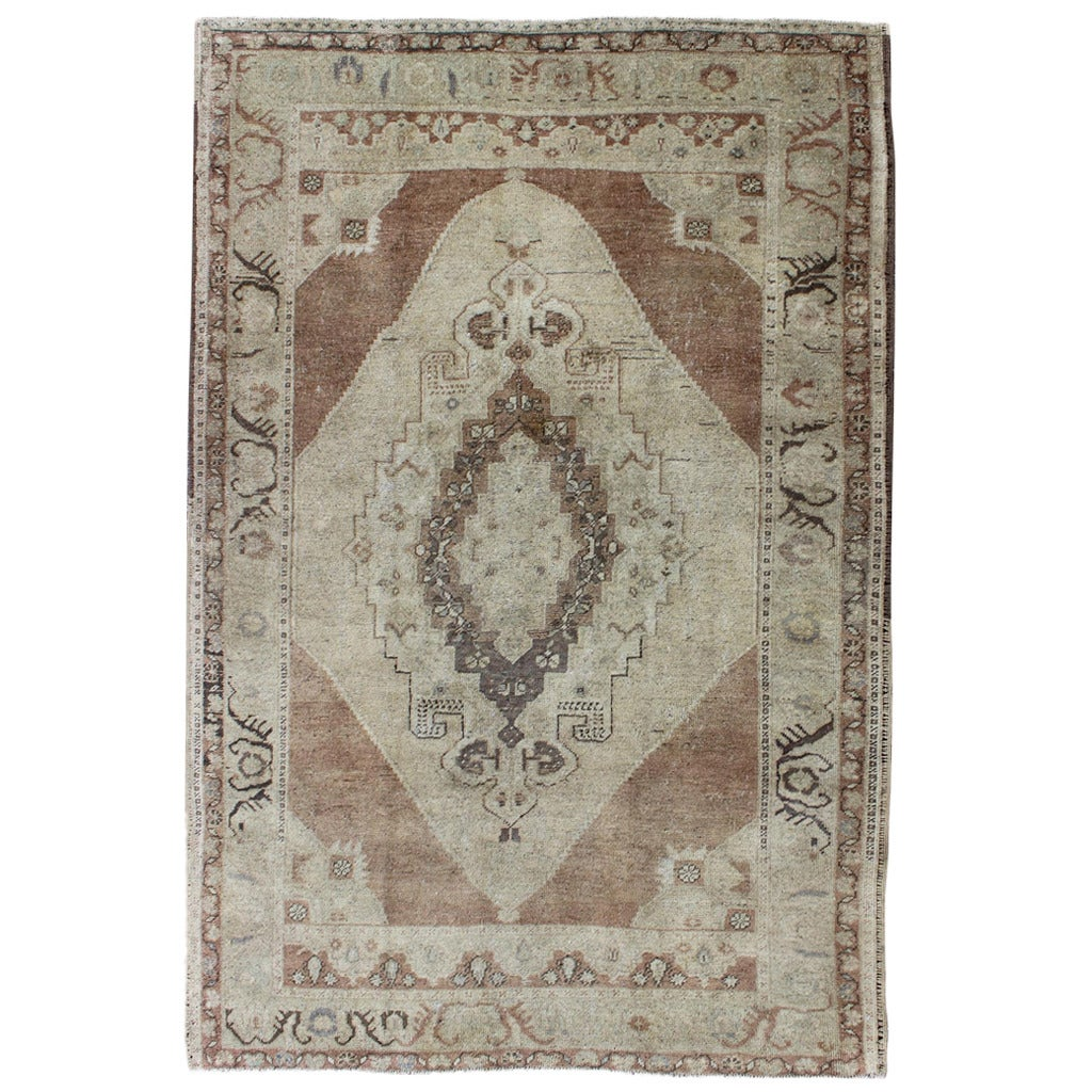Vintage Oushak Rug With Neutral Colors For Sale At 1stdibs
