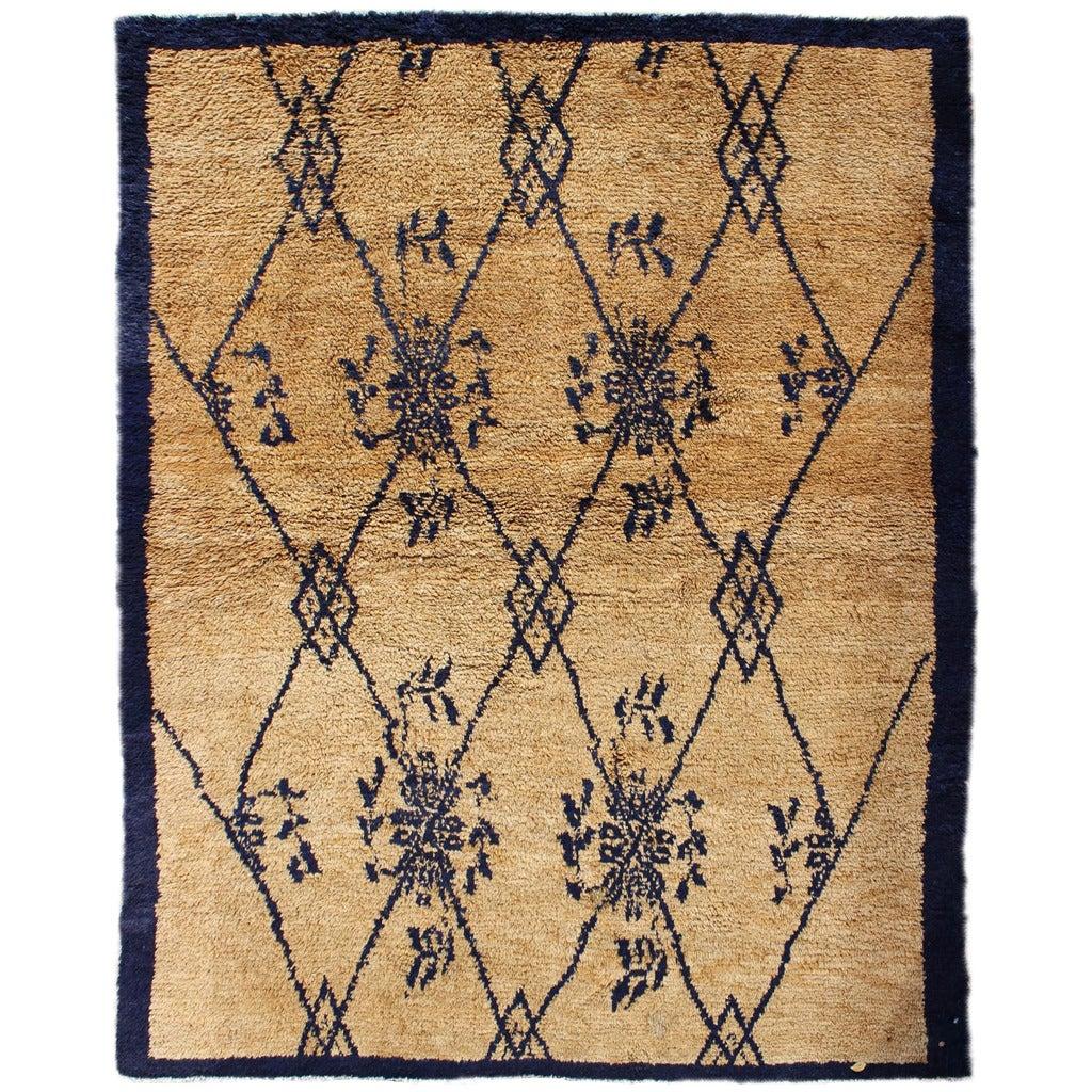 Vintage Blue Tulu Rug For Sale
