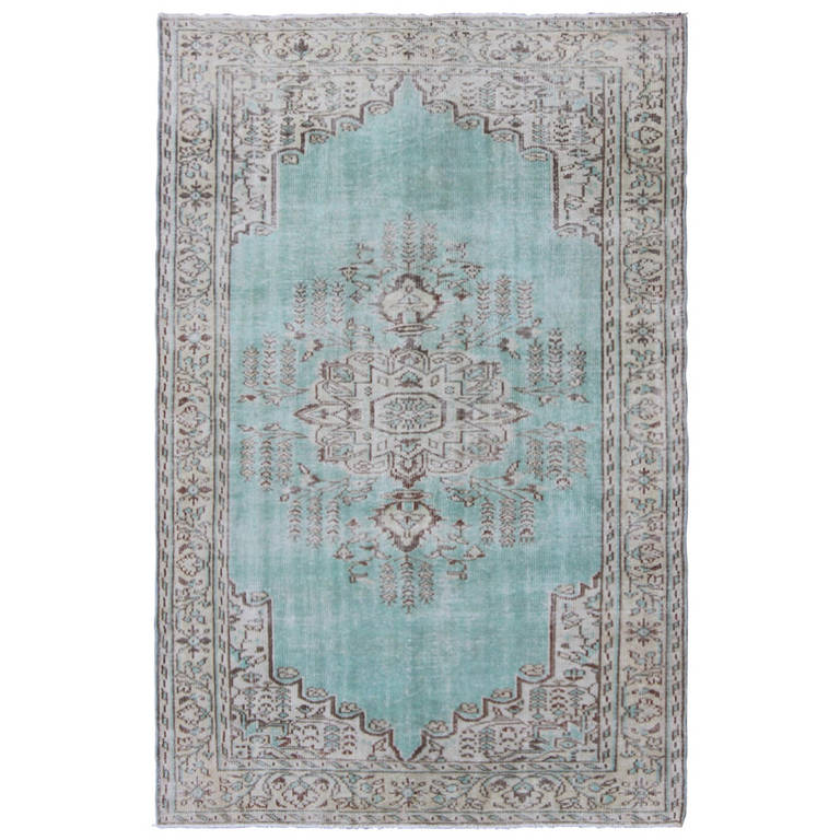 Vintage Oushak Rug With Aqua Blue Color For Sale At 1stdibs