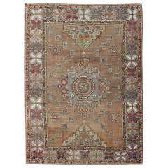 Turkish Oushak rug in Light Brown, Camel, Light Blue, Light Green, Taupe and Red