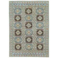 Tribal Vintage Moroccan Rug with Green and Black Medallions