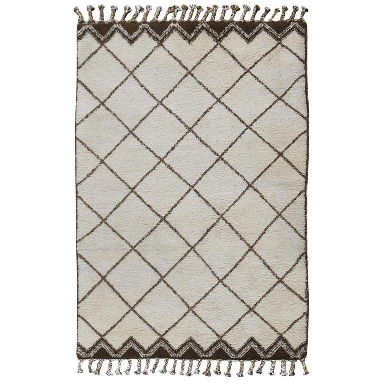 Tribal Vintage Moroccan Rug with Ivory and Brown Diamond Shapes 1