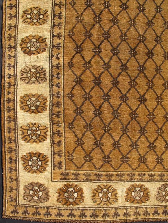 Vintage Turkish Rug In Natural Colors Of Brown Mocha And