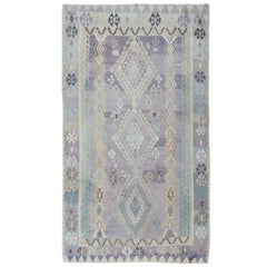 Large Vintage Kilim in Light Purple, Lavender, Turquoise, Gray & Butter Yellow