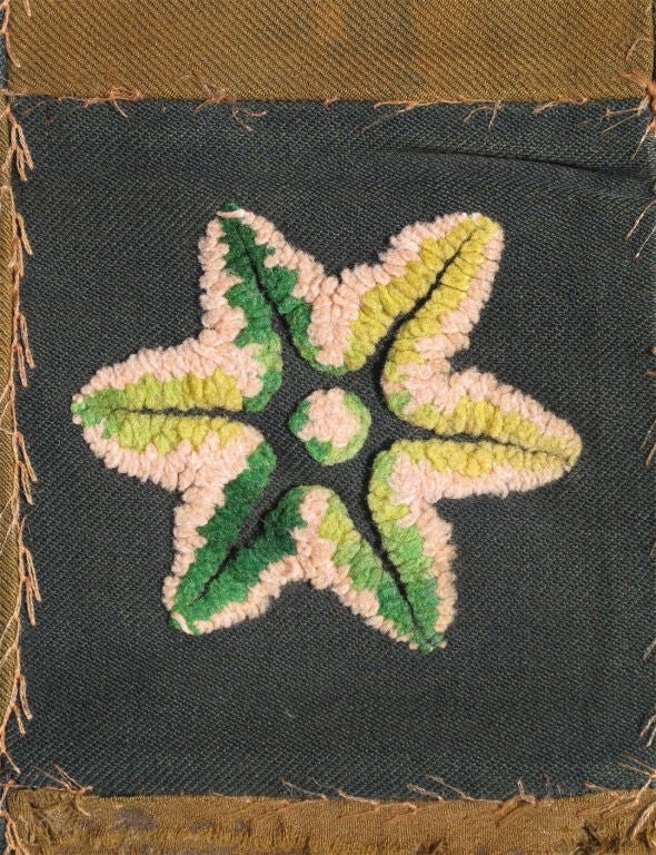 Primitive Colorful Antique American Quilt with Star-Shaped Floral Blossom Motifs For Sale