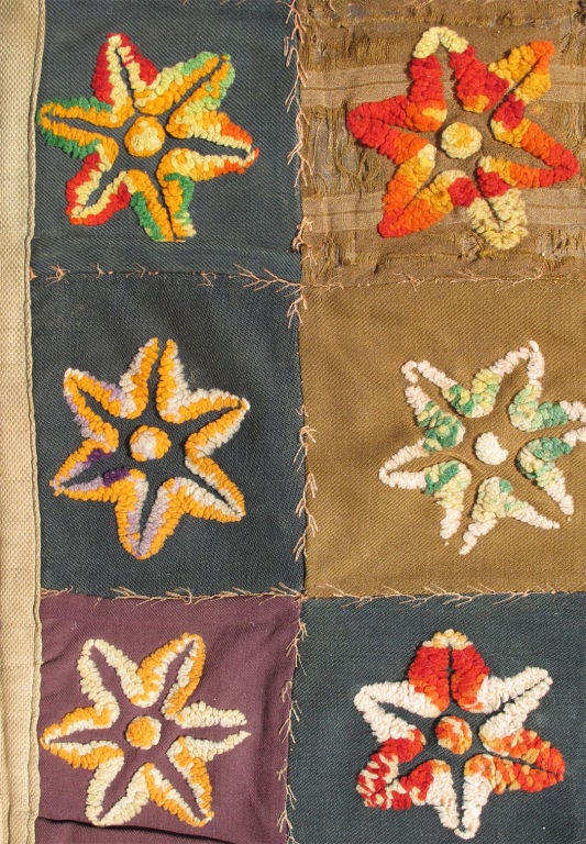 Cotton Colorful Antique American Quilt with Star-Shaped Floral Blossom Motifs For Sale