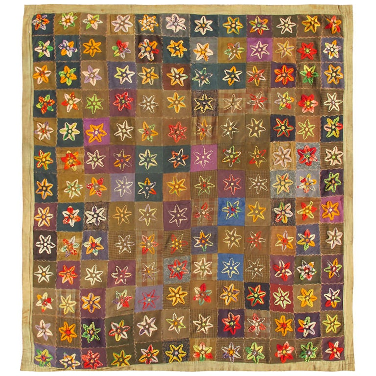 Colorful Antique American Quilt with Star-Shaped Floral Blossom Motifs For Sale