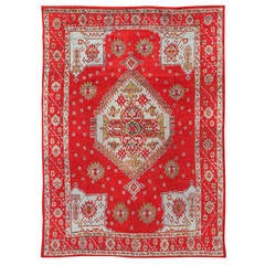 Antique Oushak Rug with Beautiful Red, Acid Green and Icy Blue