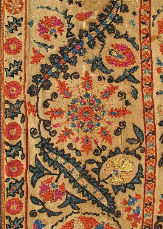 19th Century Antique Uzbekistan Suzani Embroidery For Sale