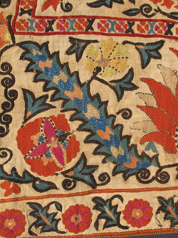 Antique Uzbekistan Suzani Embroidery For Sale 2