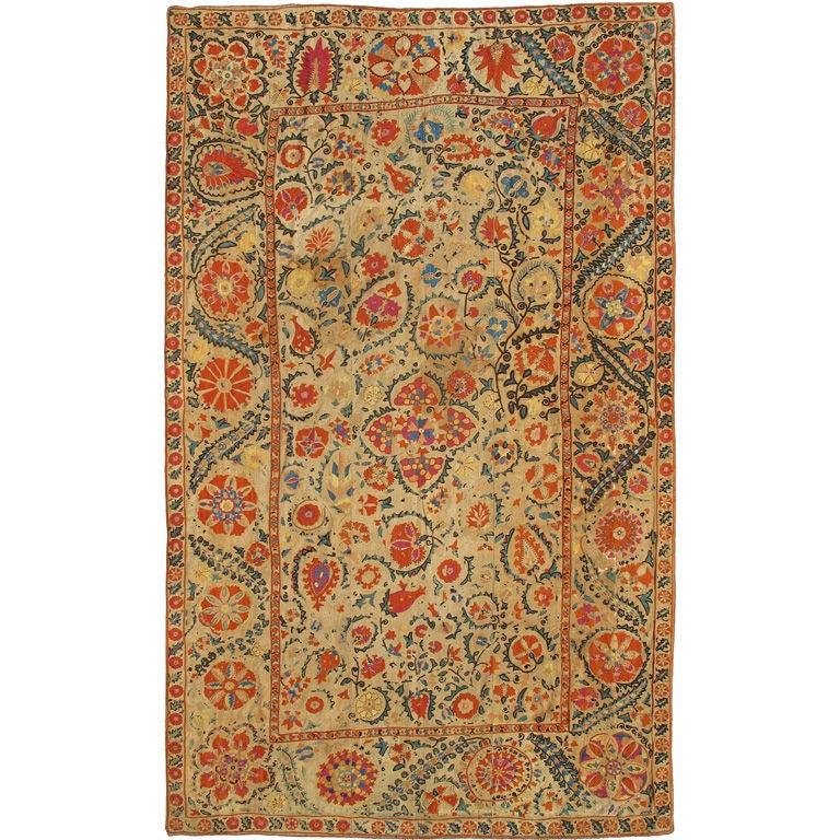 Antique Uzbekistan Suzani Embroidery For Sale