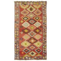 Vintage Turkish Kilim Carpet with Geometric Design