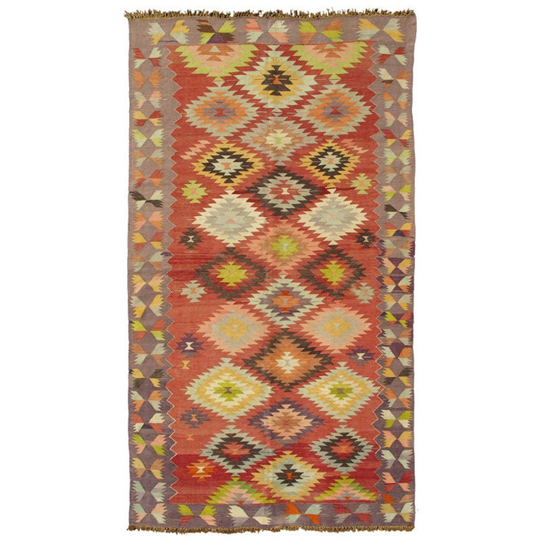 Vintage turkish kilim carpet with geometric design for for Kilim designs
