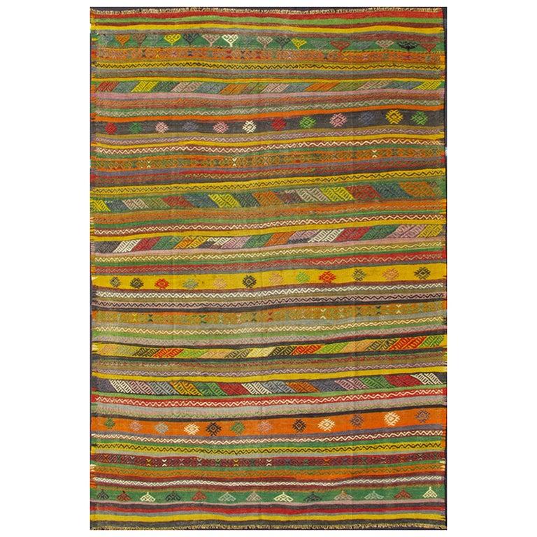 Vintage Turkish Kilim Rug with Colorful Stripe and Diamond Motif Designs