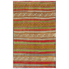 Fine Weave Turkish Kilim with Embroidery