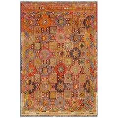 Colorful Embroidered Jajeem Flat-Weave Rug