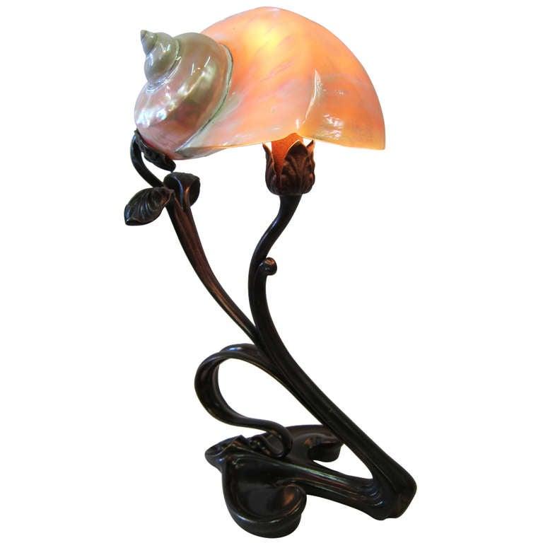 Art Nouveau Shell Lamp At 1stdibs