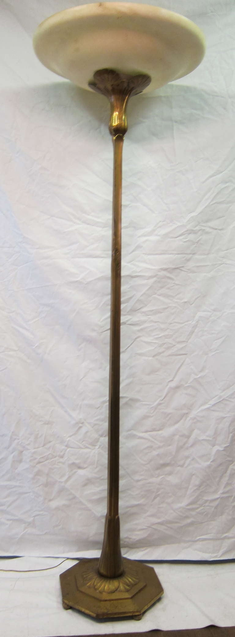 Art Nouveau Bronze And Alabaster Floor Lamp At 1stdibs