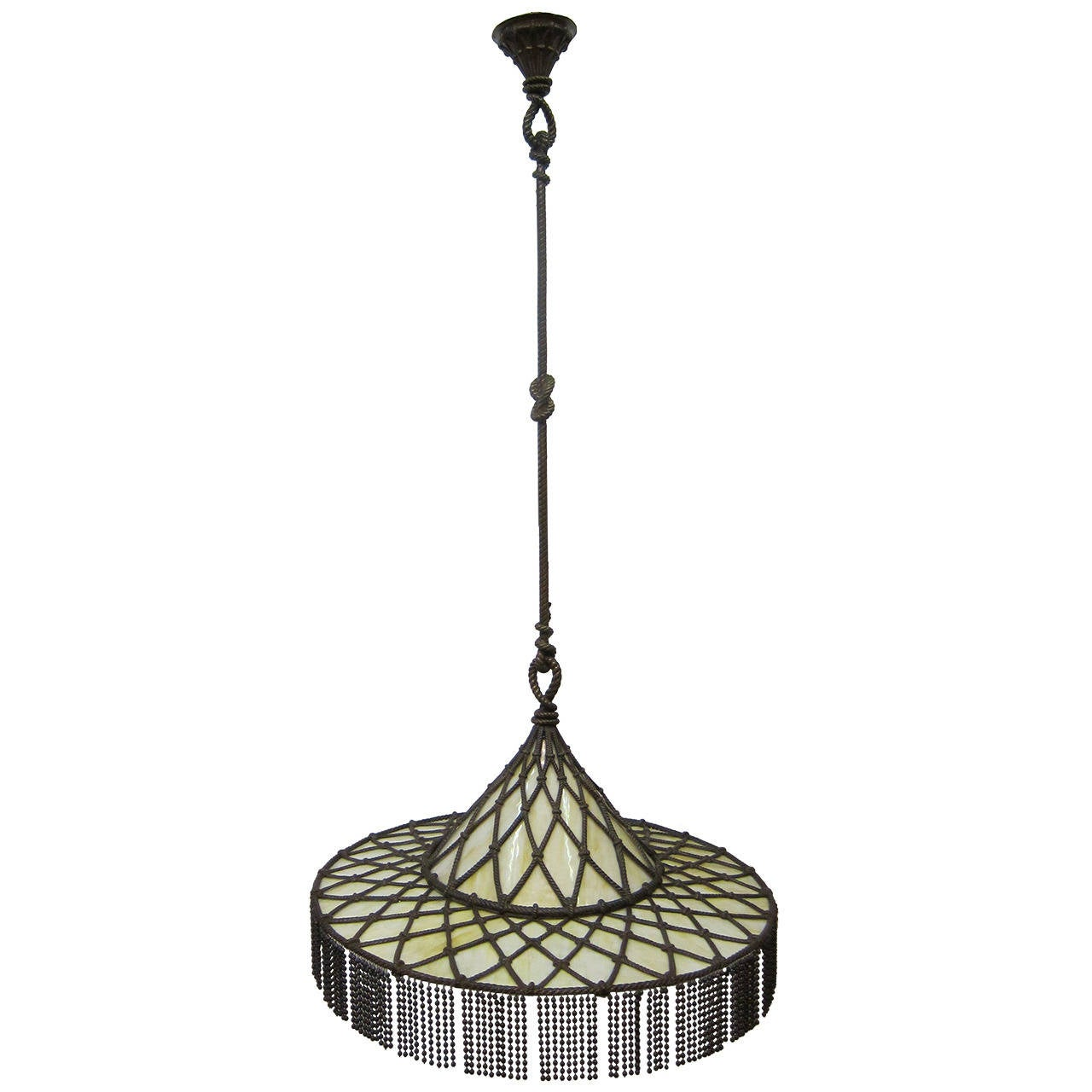 vintasge arts and crafts light fixture in bronze and glass. Black Bedroom Furniture Sets. Home Design Ideas