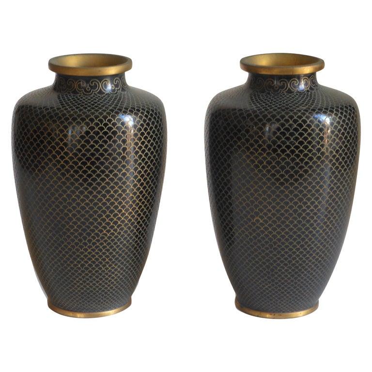 Pair Of Black Cloisonne Vases At 1stdibs