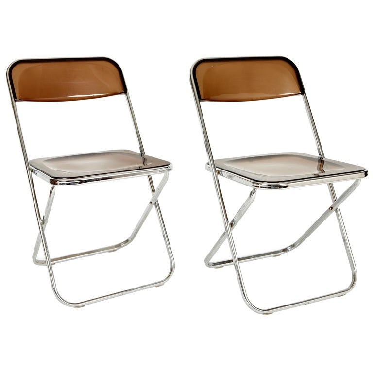Pair Italian Lucite Folding Chairs at 1stdibs