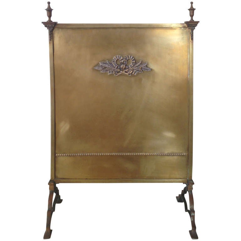 Vintage Brass Fire Screen At 1stdibs