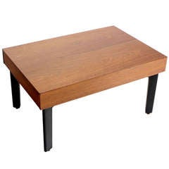 George Nelson Mid-Century Modern Walnut Coffee or Side Table with Pull-Out Trays