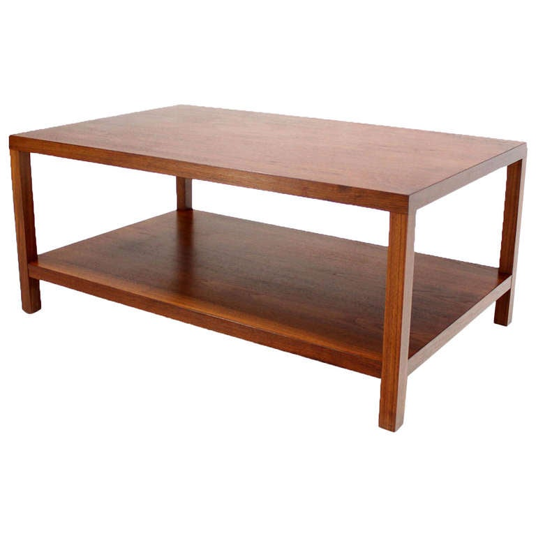 Mid Century Modern Parson Style Coffee Table With Bottom Shelf At
