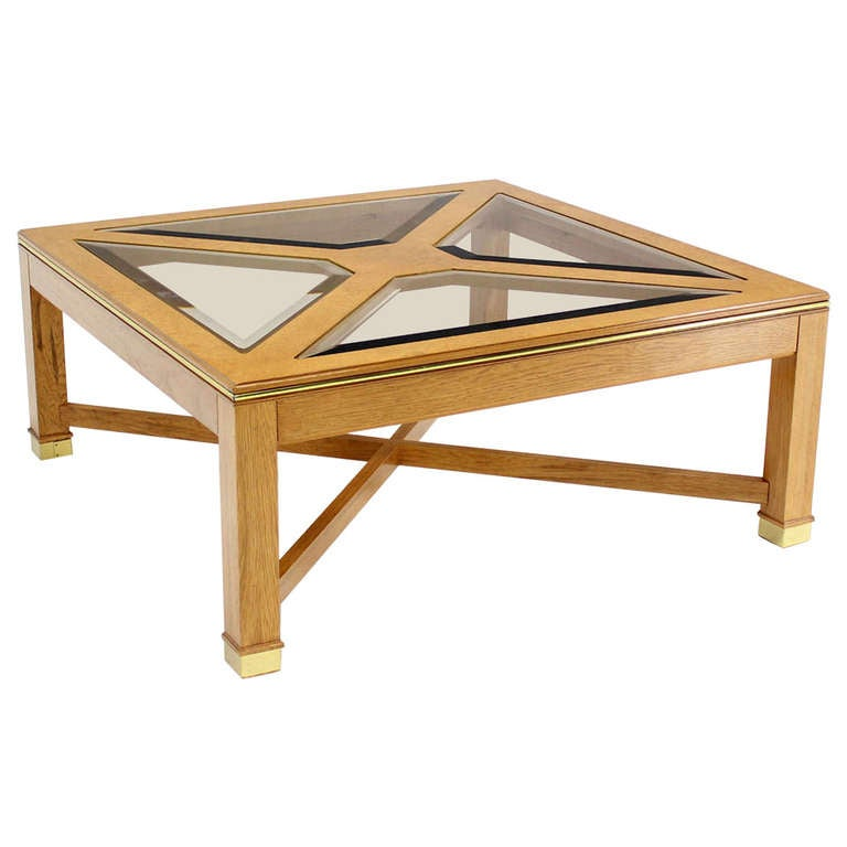 Contemporary bird 39 s eye maple with a square glass top for Modern coffee table sale