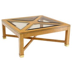 Contemporary Bird's-Eye Maple with a Square Glass Top Coffee Table