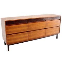 Danish Mid Century Modern Walnut Long Dresser Credenza by John Stuart