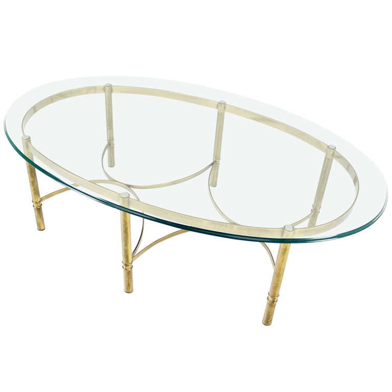 Brass and glass oval mid century modern coffee table for for Contemporary oval coffee tables