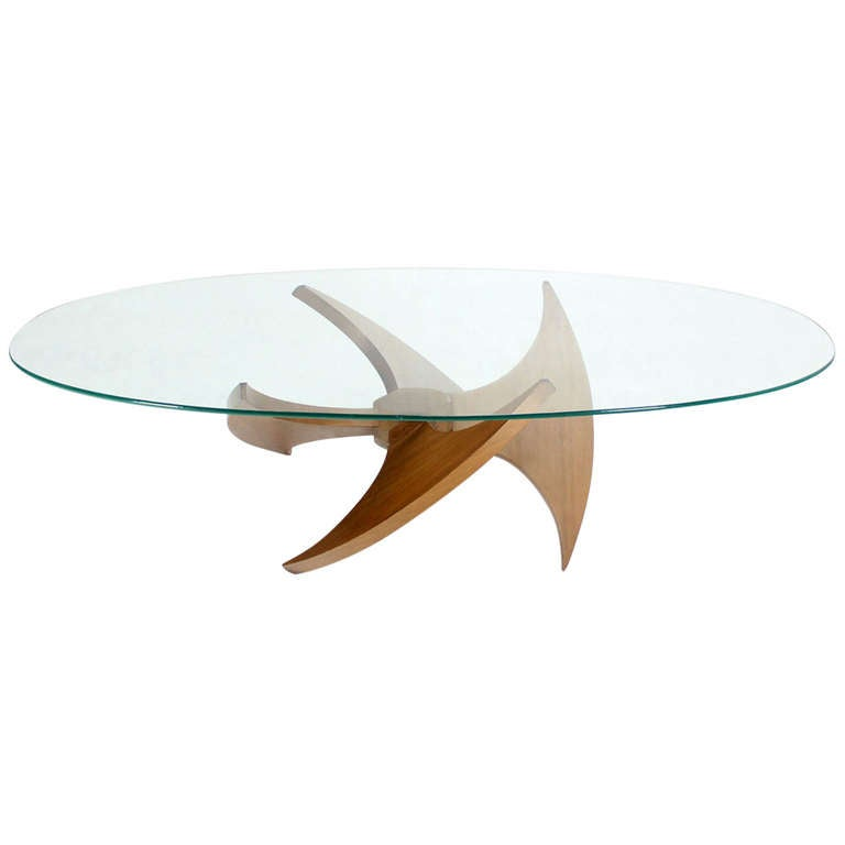 mid-century modern walnut propeller base oval coffee table with