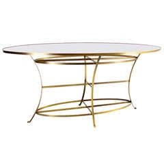 Large Brass Oval Display Table