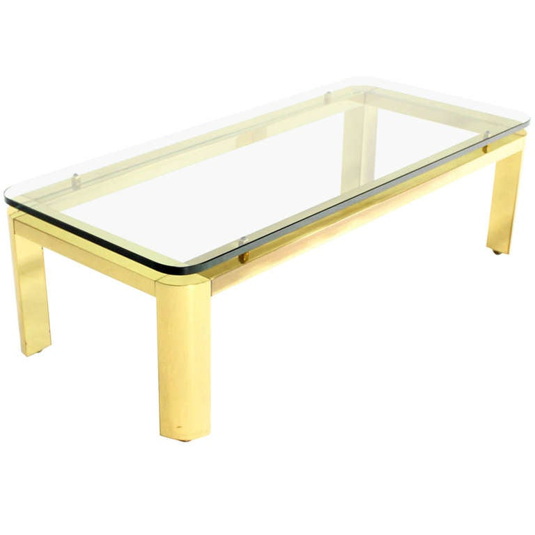 Pace Collection Floating Glass-Top and Brass Base Coffee Table