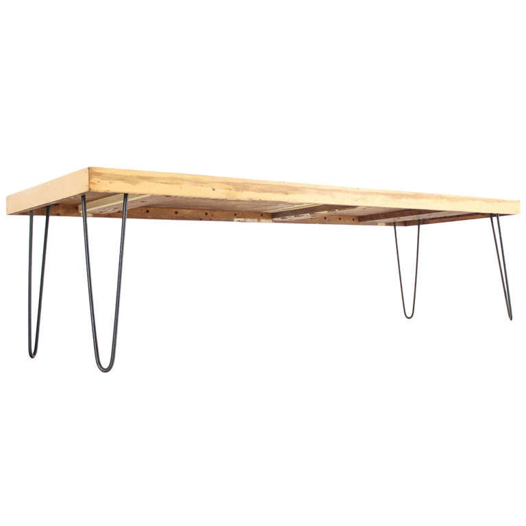 Large Rectangular Vintage Solid Birch-Top with Hairpin Leg Coffee Table