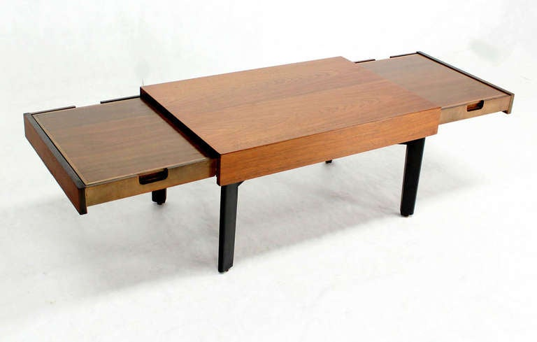 George Nelson Mid Century Modern Walnut Coffee Side Table With Pull Out Trays At 1stdibs