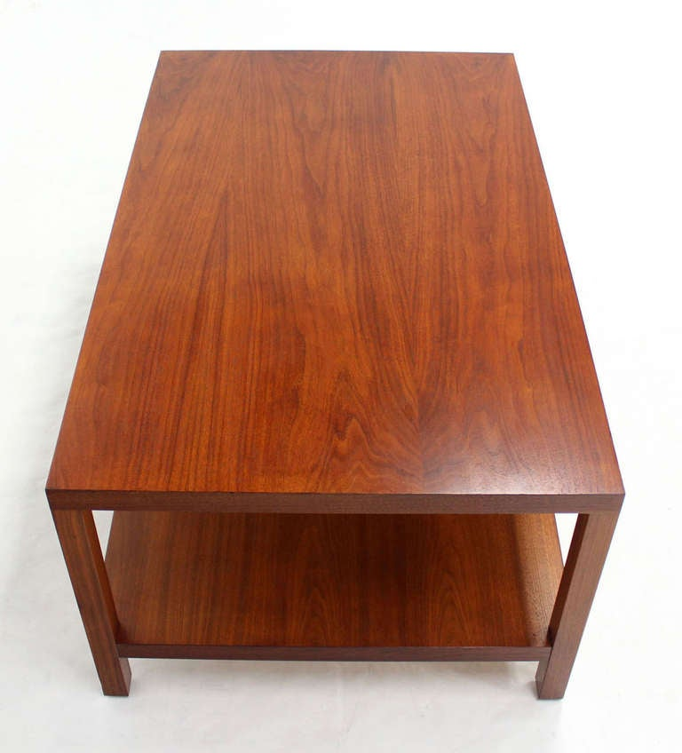 Mid-Century Modern Parson Style Coffee Table With Bottom