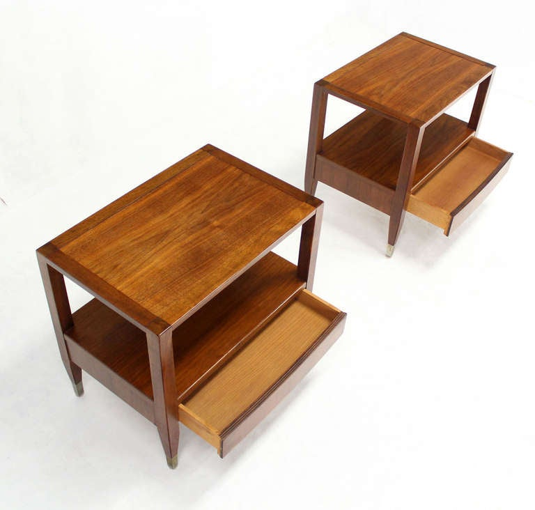 Pair Of Mid Century Modern Walnut Night Stands Or End