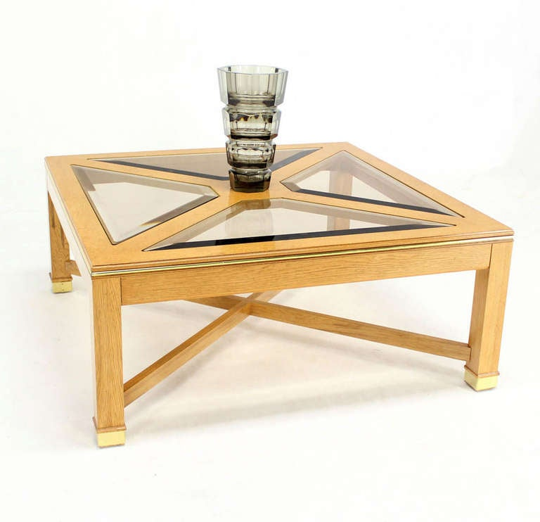 Contemporary Bird 39 S Eye Maple Glass Top Square Coffee Table At 1stdibs