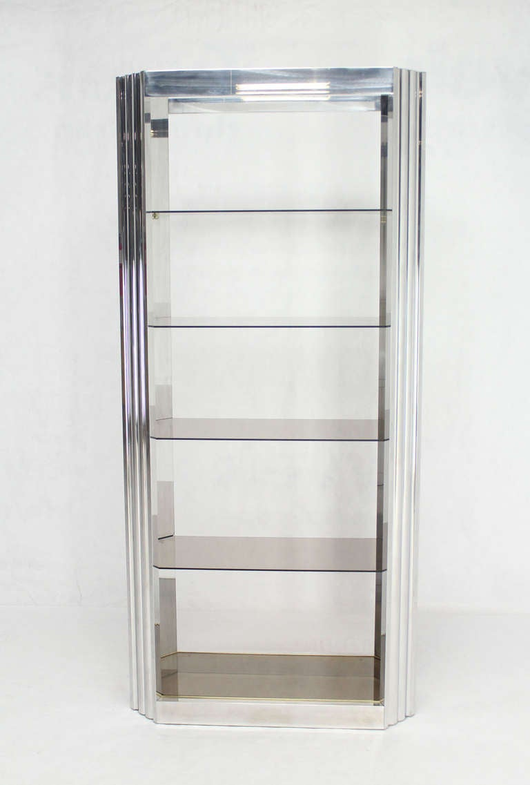 pace collection mid century modern glass and polished metal etagere image 2. Black Bedroom Furniture Sets. Home Design Ideas