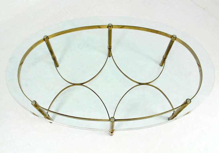 Brass and Glass Oval Mid-Century Modern Coffee Table For Sale 3