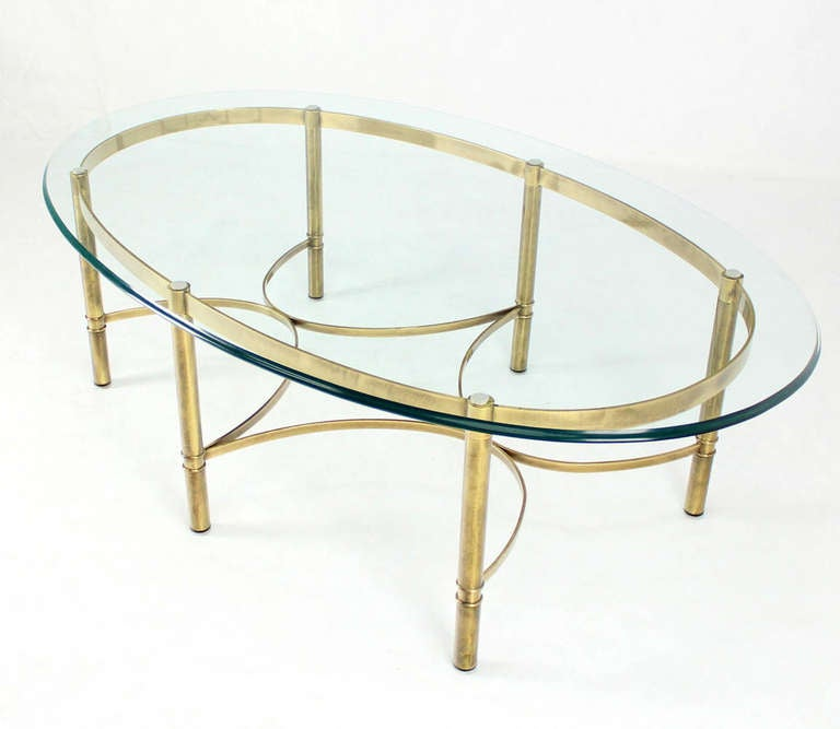 Brass And Glass Oval Mid-Century Modern Coffee Table At