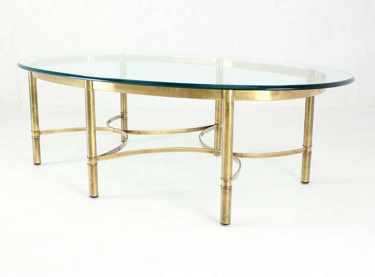 American Brass and Glass Oval Mid-Century Modern Coffee Table For Sale
