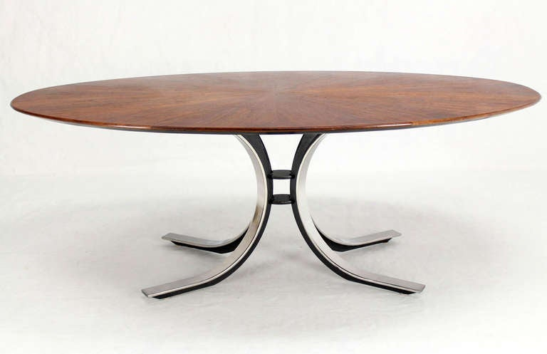mid century modern oval walnut dining table by borsani at