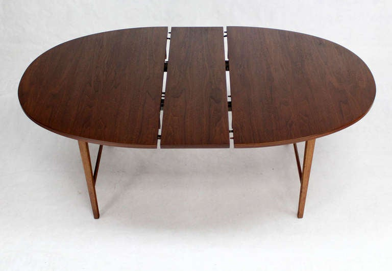 Danish mid century modern oval walnut dining table with for Mid century modern dining table