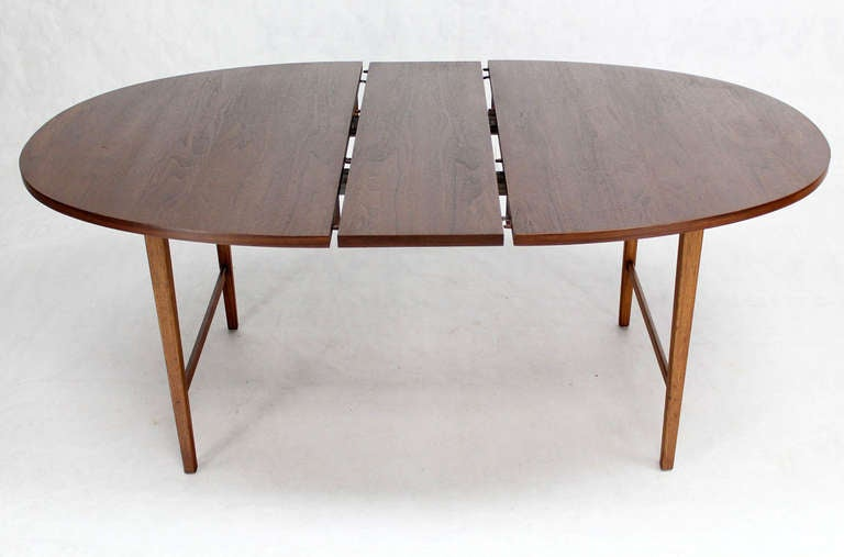 danish mid century modern oval walnut dining table with extension leaf
