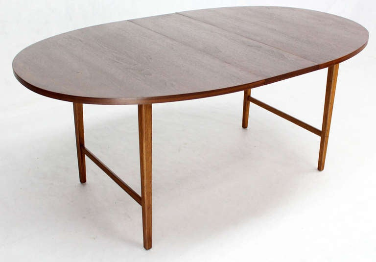 Danish Mid Century Modern Oval Walnut Dining Table with Extension Leaf 6